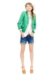 J.Crew Summer 2012 Casual White Shirt + Jean Shorts + Green Blazer