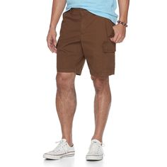 Men's Urban Pipeline® Ultimate Flex Canvas Hiker Cargo Shorts, Size: 38, Dark Brown, Durable