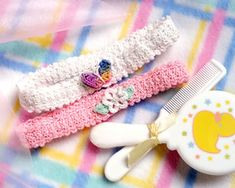 Crochet! -- Talking crochet ...A dainty butterfly and delicate flower adorn these fashionable little headbands that make cute accessories for Baby's wardrobe. The pattern for these easy-to-stitch thread bands can be easily adjusted to fit any length of elastic for a perfect, comfortable fit!   Skill Level-Beginner Finished Size: Head circumference 13-15""