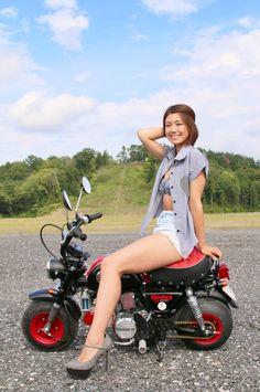 Lady Biker, Biker Girl, Honda Cub, Scooters, Scooter Girl, Hot Bikes, Mini Bike, Motorcycle Bike, Super Bikes