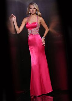 Cut Out Halter Pink Prom Dress