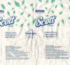 Упаковка туалетной бумаги. В центре - знак EcoLogo - канадской системы сертификации товаров по жизненному циклу.  Знак обозначает, что товар экологичен при производстве, использовании ) и утилизации.