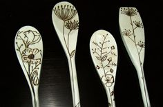 wood burned spoons, cute designs