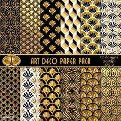 Art Deco Paper Pack Digital Backgrounds Art Deco Digital Paper PackMetallic Black Gold White Art Deco Paper Commercial Use Great Gatsby-Party Papeterie Motifs Art Nouveau, Moda Art Deco, Art Blanc, Design Industrial, Estilo Art Deco, Art Deco Stil, Inspiration Art, Digital Backgrounds, Diy Interior