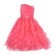 What a gorgeous pageant special occasion dress for your little girl! The skirt features layers of ruffles for a perfect twirl! The rhinestone brooch on the sash gives the dress a touch of elegance. Stylish off shoulder top has a ruffled trim adorned with