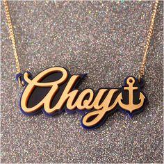 Ahoy anchor necklace - laser cut acrylic