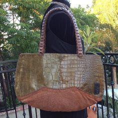 $238.00 Buy It Now Or Best Offer? HANDMADE HANDBAG TOTE LARGE GREEN BROWN LEATHER PURSE SHOULDER CROCK BAG FASHION #Handmade #ShoulderBag Kate Spade Handbags, Chanel Handbags, Handbags Michael Kors, Tote Handbags, Leather Handbags, Trendy Handbags, Handmade Handbags, Fashion Handbags, Designer Purses And Handbags