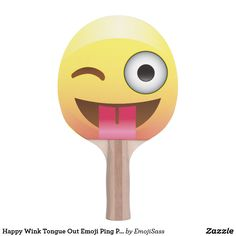 Happy Wink Tongue Out Emoji Ping Pong Pattle