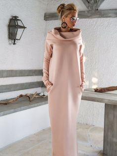 Scuba Neoprene Maxi Dress Kaftan with Pockets / Blush Pink Scuba Kaftan / Plus Size Dress / Oversize Loose Dress / #35144   A very elegant....and