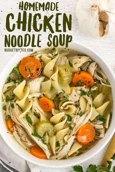 This Homemade Chicken Noodle Soup is made 100% from scratch, with plenty of chunky vegetables, herbs, and a homemade broth, just like Grandma used to make! Budgetbytes.com #chicken #chickenrecipes #chickensoup #homemade #fromscratch #souprecipes #chickennoodle #yummy #easydinner