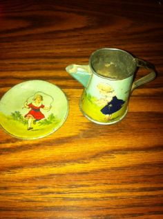 Antique Victorian Tin Litho Tea set Child's Doll Dishes Landscape Butterfly Girl