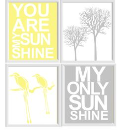 You are my sunshine Nursery Art, The 4 piece set. $45.00, via Etsy.