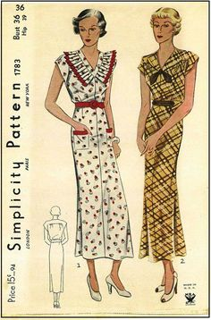 1933-35 Ladies Day Dress Sewing Pattern - Simplicity #1783