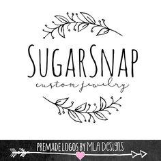 Sugar Snap Laurel Custom Logo Design Premade Logo by MLAdesigns Custom Logo Design, Custom Logos, Graphic Design, Logo Branding, Branding Design, Laurel, Boutique Logo, Floral Logo, Design Projects