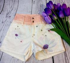 Floral ombré  high waisted shorts