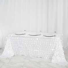 Tablecloth Sizes, Floral Tablecloth, Cheap Tulle, Cheap Tablecloths, White Flamingo, Bridal Table, Winter Wonderland Wedding, White Tulle, Sequins