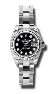 Rolex | Review Rolex Datejust Black Diamond Dial Oyster Bracelet 18kt White Gold Bezel Ladies Watch 179174BKDO By Rolex