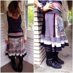 Eco boho SKIRT,cropped length,size S/M, patchwork skirt, folk ...