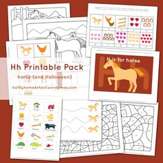 Hh Printable Pack Letter H Activities, All About Horses, Horse Crafts, Activity Sheets, Craft Projects, Packing, Printables, Lettering, Halloween