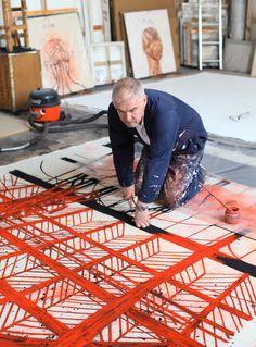 Artist Tony Bevan in his studio