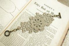 lace bracelet cuff XENA soft gray grey by tinaevarenee on Etsy, $25.00