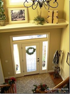 I will need this idea someday.Good idea... add a shelf to split up your large two story foyer!