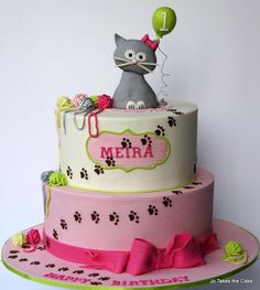 Kitty Cat 1st Birthday And Matching Cupcakes Themed CakesBirthday