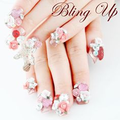 Japanese Nail Art Glitter Nail Tip with 3D Flowers, 3D Butterfly and... ($45) ❤ liked on Polyvore