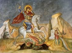 Saint George is one of the most beloved saints of the Eastern Church. In particular, the people of Cappadocia, his homeland, had recourse to him for help and assistance from very early on and his honour and fame spread throughout the world. Perseus And Medusa, Patron Saint Of England, Saint George And The Dragon, Legendary Creature, Orthodox Icons, Patron Saints, Faeries, Ikon, Medieval
