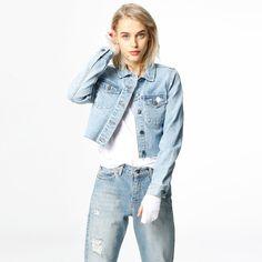 Jacka - Jeanie Denim, Jackets, Fashion, Pink, Scale Model, Down Jackets, Moda, Fashion Styles, Fashion Illustrations