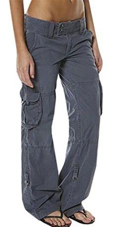 c5f89d64f5ee Joe Wenko JWK Womens Rugged Low Waist Baggy Fit Easy-Fit Wide Leg Long Cargo  Pants