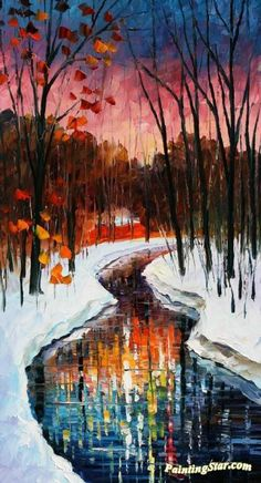 Winter stream Artwork by Leonid Afremov Hand-painted and Art Prints on canvas for sale,you can custom the size and frame