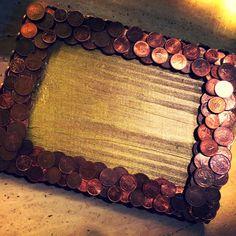 photo frame coins wood handmade