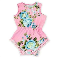 Show your little princess off in this super cute pink and blue floral pom pom romper. Pom pom rompers are a must have! Made of super soft stretch material for a comfy fit. Perfect for her first birth