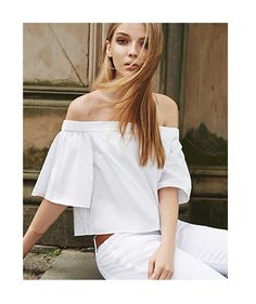Sun's out, so let your shoulders out. The Tibi Satin Poplin Off-The-Shoulder Top as seen on ShopBop.
