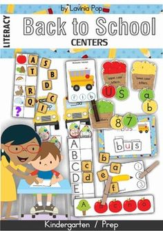 Kindergarten Literacy Centers - Back to School. 92 pages. Great unit to introduce basic concepts!