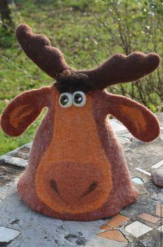 Купить Шапка банная Лось, просто лось)) - шапка банная валяная, подарок с юмором