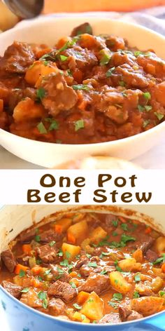 This Best Ever One Pot Beef Stew is an easy, classic beef stew recipe that cooks to perfection on the stove top and in the oven. It's the best comfort food! Recipe from Best Beef Stew Recipe, Easy Beef Stew, Pork Stew, Stew Meat Recipes, Slow Cooker Recipes, Cooking Recipes, Oven Stew Recipe, Menudo Recipe, Easy Stew Recipes