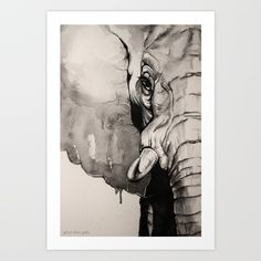 Elephant art portrait created with watercolours by, Sillier Than Sally. African Elephant, moody, black and white...