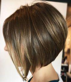 20 Trendy Short Haircuts for Fine Hair: Shiny Angled Bob with Layers; Angled Bob Hairstyles, Bob Hairstyles For Fine Hair, Short Bob Haircuts, Hairstyles Haircuts, Haircut Short, Medium Hairstyles, Wedding Hairstyles, Updos Hairstyle, Braided Hairstyles