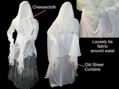 How to Make Human-Size Ghosts - Chicken wire and gauze Halloween Living Halloween Prop, Casa Halloween, Halloween Graveyard, Outdoor Halloween, Diy Halloween Decorations, Holidays Halloween, Halloween Crafts, Happy Halloween, Halloween Supplies