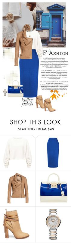 """Leather Jacket"" by frechelibelle ❤ liked on Polyvore featuring Miss Selfridge, Roland Mouret, LaMarque, Furla, Steve Madden, Baume & Mercier and Givenchy"