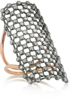 Diane Kordas | Mesh 18-karat rose gold diamond ring.