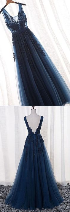 a3ea041b Charming A Line V Neck Open Back Navy Lace Long Prom Dresses, Elegant  Evening Party