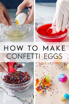 These decorated eggs are meant to be broken! Cascarones are hollowed out eggs filled with confetti and are broken open over someone's head. These confetti eggs are used to celebrate Easter, Cinco de Mayo, and Carnival. Confetti Eggs, Diy Confetti, Egg Decorating, Hallway Decorating, Entryway Decor, How To Make Confetti, New Kitchen Doors, Sitting Room Decor, Easter Egg Dye