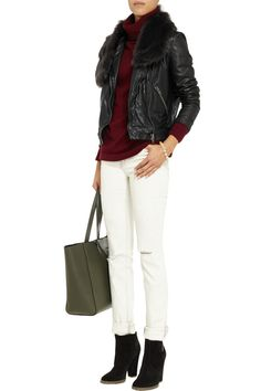 MuubaaDelphi shearling-trimmed leather jacket