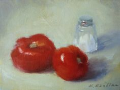 """""""Salt and Tomatoes"""" still life oil painting by Keiko Richter"""