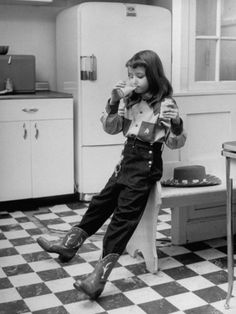 Taking a much needed break from a long day of being a cowgirl :) #vintage #Western #cowgirl #kids #1950s
