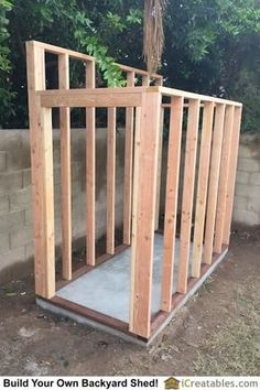 Shed Plans - The shed walls are framed. Pressure treated wood is used for the wall bottom plates. - Now You Can Build ANY Shed In A Weekend Even If You've Zero Woodworking Experience! Lean To Shed Plans, Wood Shed Plans, Diy Shed Plans, Storage Shed Plans, Backyard Sheds, Outdoor Sheds, Shed Construction, Large Sheds, Garden Storage Shed