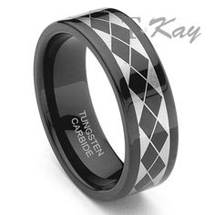 """Black Tungsten Carbide Laser Engraved Band Ring """"First introduced by Titanium Kay, this black tungsten carbide ring is for those who need ultimate uniqueness. We are the pioneer in manufacturing black tungsten jewelry in the entire jewelry industry. This ring is made in comfort fit design. The pattern on the ring creates a professional look that you will not get anywhere else. Designed for young professionals, the ring is suitable for daily use."""""""